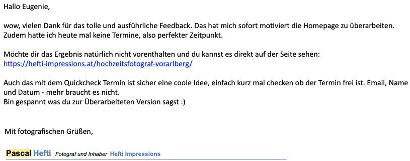 Website Feedback Pascal Hefti